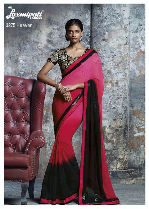 The red, pink & black- trio pedding georgette saree with sequence border is surely steal your heart and also super duper embroidery blouse piece is Like a Cherry on the cake!