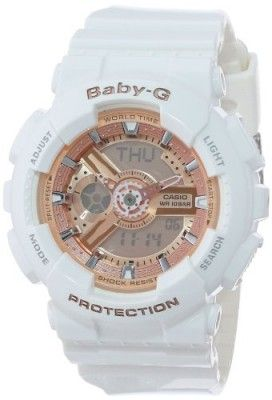 Relógio Casio Women's BA-110-7A1CR Baby-G Pink Analog-Digital Display and White Resin Strap Watch #Relogios #Babyg