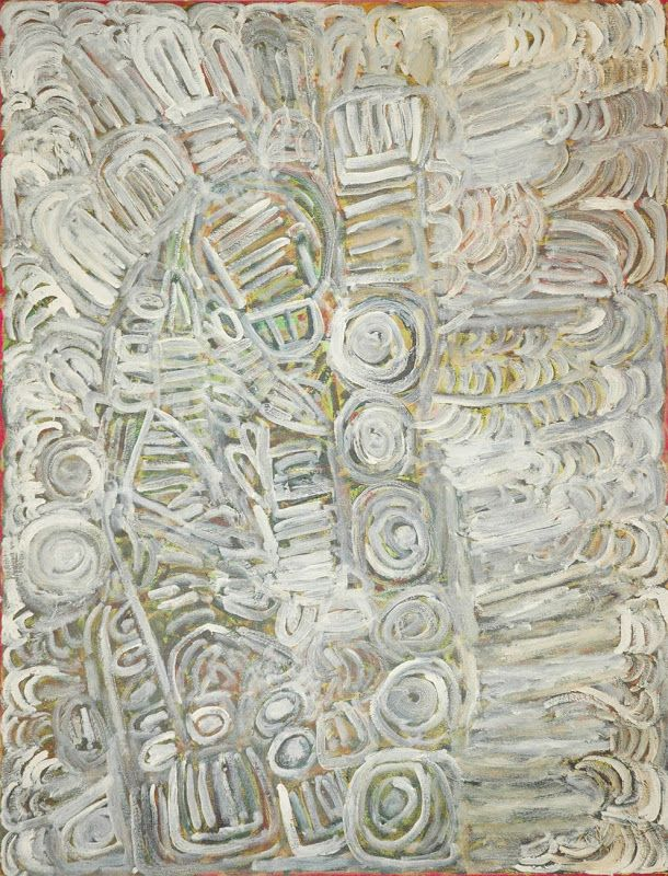 Sonia Kurrara, Parlka (Barramundi), acrylic on canvas,120 x 90 cm. Short Street Gallery, Broome.
