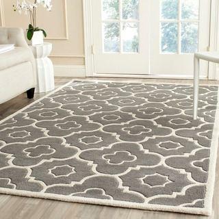 safavieh handmade moroccan chatham dark gray ivory rectangular wool rug 4u0027 x 6