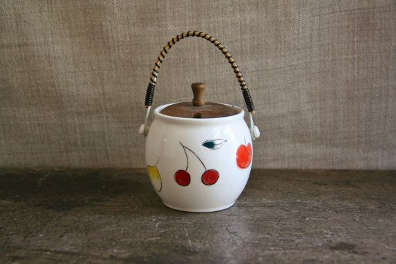 Vintage Sugar Bowl or Jam Pot Ceramic with Wooden by FoundByHer, $10.00