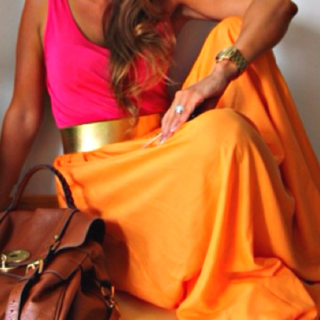 Pink & Orange: Gold Belts, Color Combos, Bright Color, Bold Color, Summer Color, Tanks Tops, Hot Pink, Color Combinations, Maxi Skirts