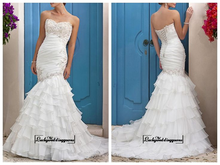 Amazing Organza & Satin Mermaid Strapless Sweetheart Tiered Ruffled Destination Wedding Dress With Beaded Lace Appliques http://www.ckdress.com/amazing-organza-satin-mermaid-strapless-sweetheart-tiered-ruffled-destination-wedding-dress-with-beaded-lace-appliques-p-1576.html  #wedding #dresses #party #Luckyweddinggown #Luckywedding #design #style #weddingdresses #bridaldresses #love #me #cute #beautiful #girl #shopping #lovely #clothes #instagood #follow #fashion