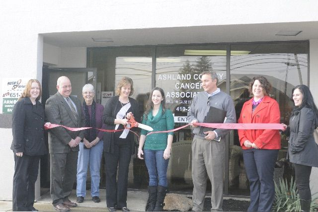 Ashland Area Chamber of Commerce Board celebrates the new local of the Ashland County Cancer Association, 1011 E Main St.