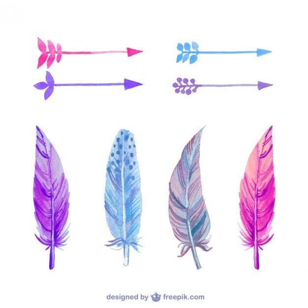 Plumas y flechas en acuarela