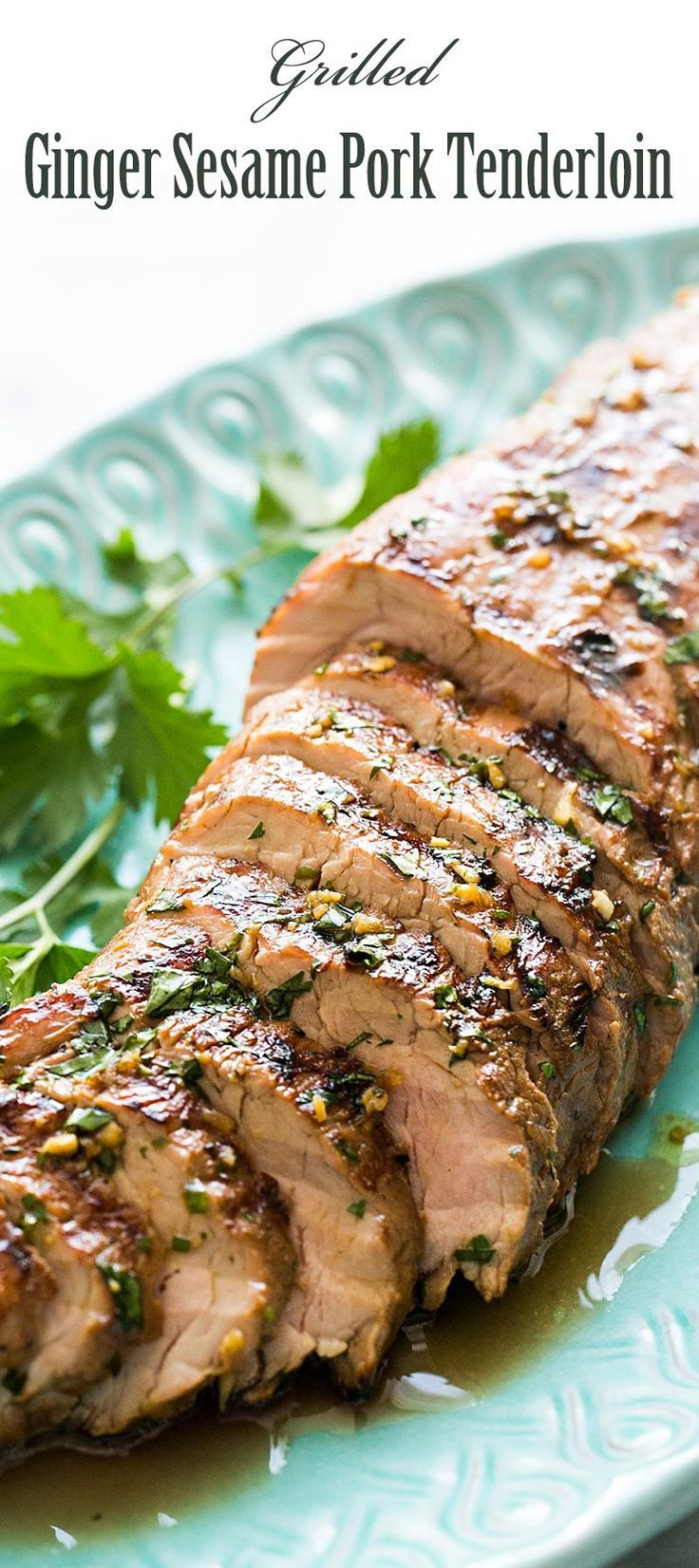 Easy grilled pork tenderloin, marinated in soy sauce, ginger, sesame oil marinade, and grilled to perfection! On http://SimplyRecipes.com