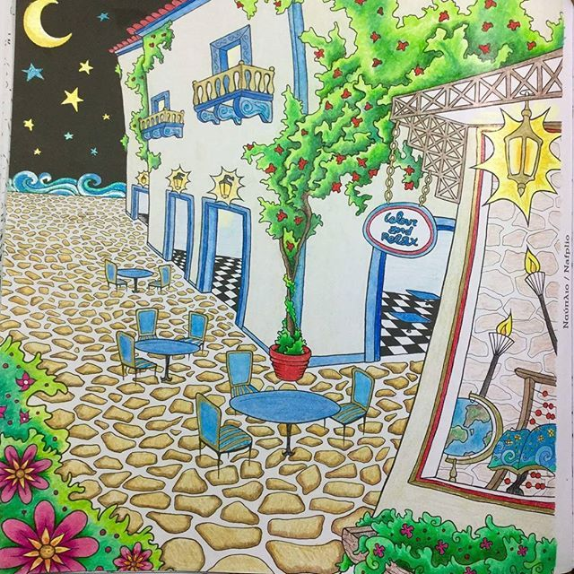 A new one coloured by Millie Plastaras. #nauplio 🌃💙 . #greececolouringbook…