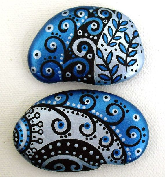 MAGNETS Hand Painted Abstract Art River Rock by LisaEverettDesigns, $14.00