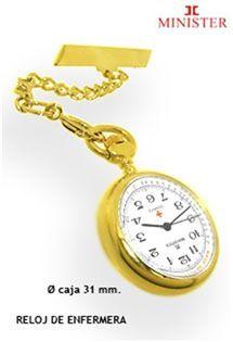 Reloj de enfermera de acero chapado en color oro de la firma de relojes Minister. Con alfiler para colgar.