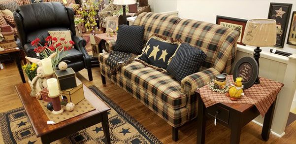 I Love This Blue Plaid Couch With The Blue And White Star Pillow It Has A Really Nice C Country Furniture Country Style Living Room French Country Living Room