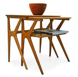 nesting tables danish MODERN Teak 50er 60er Cocutisch Beistelltisch Tisch
