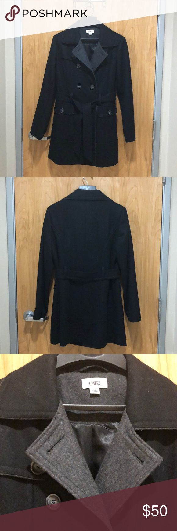 Like New Wool Blend Black Trench Coat Very nice wool blend trench in black. Size medium. Worn maybe 5 times at most.  Length: 32 inches Cato Jackets & Coats Trench Coats