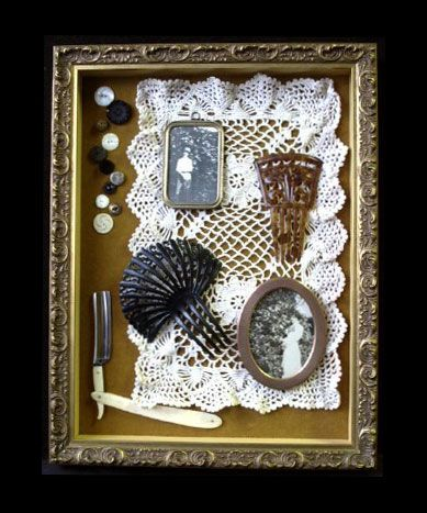 "INSPIRATION: ""Grandpa's straight razor and Grandma's combs along with their photos in tiny antique frames."""