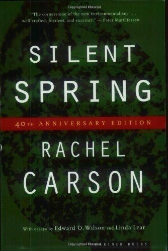 """Silent Spring by Rachel Carson.  Rachel Carson's Silent Spring, written over the years 1958 to 1962, took a hard look at the effects of insecticides and pesticides on songbird populations throughout the United States, whose declining numbers yielded the silence to which her title attests. """"What happens in nature is not allowed to happen in the modern, chemical-drenched world,"""" she writes, """"where spraying destroys not only the insects but also their principal enemy, the birds."""