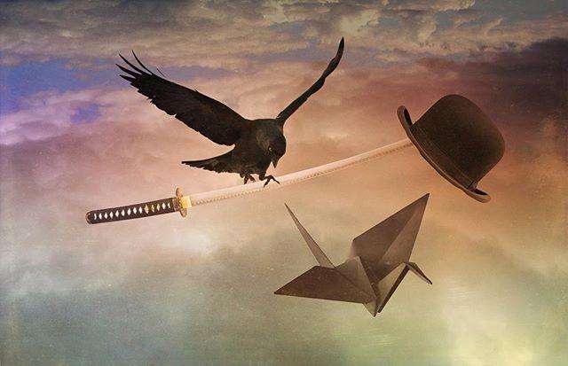 Away with the wind #rsa_graphics #rsa_main #rsa_blends #mextures_app #mextures #jj_mextures #surreal #crow #crane #blade