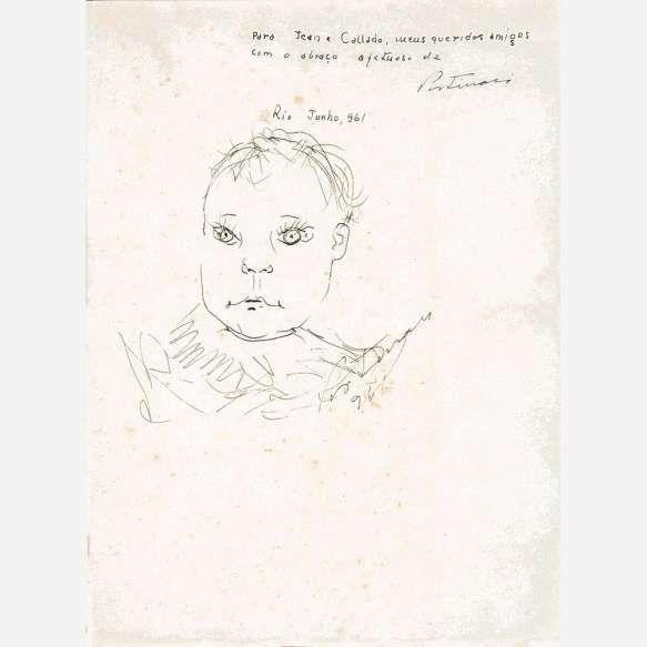 Portinari<br>Retrato de Denise. Desenho a caneta tinteiro sobre papel.<br>22,2 x 18 cm.