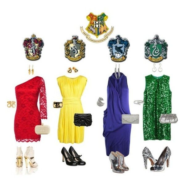 "'*`""~~""`*' / Hogwarts Dresses!! Of course I like the Gryffindor outfit... via Polyvore"