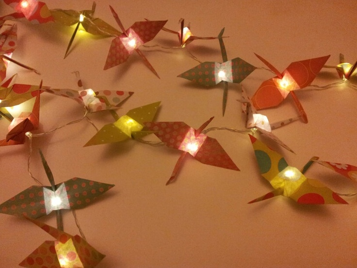 String of 35 Pretty Pink and Green Spotted Origami Crane Fairy Lights. ?40.00, via Etsy ...