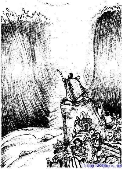 Moises Dibujo para colorear del pueblo de Israel cruzando