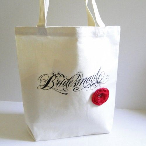 Looking for the perfect tote for your bridesmaids? We love the new tote bags the lovely PaperFlora is selling in her shop… perhaps the most elegant 'Bridesmaid' tote bags we've ever seen!