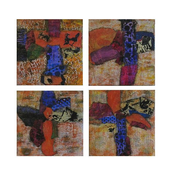 Texture Abstract Paintings On Wood Original Modern Wall Art Burnt Orange Decor #Abstract