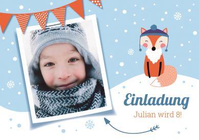Lustige Einladungskarte zum Kindergeburtstag mit Foto und Fuchs im Schnee #einladunggeburtstag.de