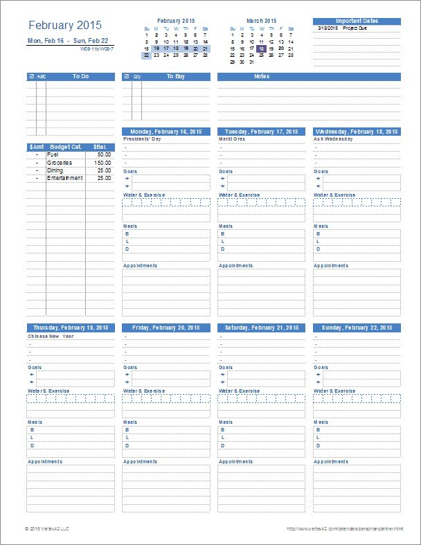A printable Personal Planner template for Excel with everything you need on one page. From Vertex42.com