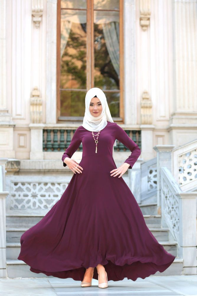 7fb5bd032888 NEVA STYLE - Daily Dress - Plum Color Hijab Dress - 4055MU   Hijab ...