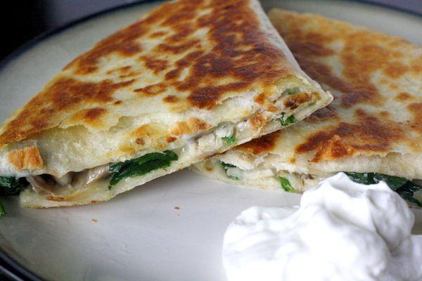 Chicken and Spinach Quesadillas - chicken, mushrooms, spinach, and Monterrey jack cheese!!