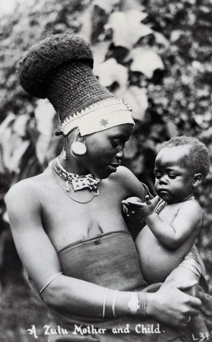 "Africa | ""Zulu mother and child"".  South Africa.    