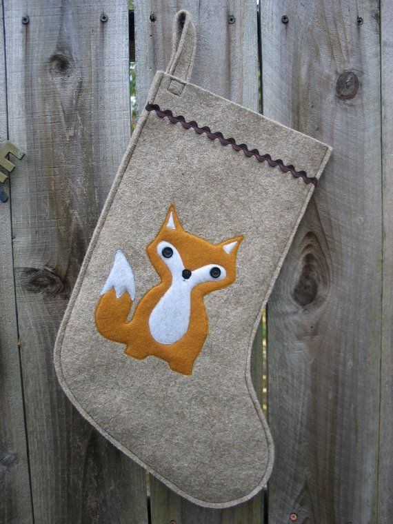 Christmas Stocking Woodland Baby Fox made of wool felt wool ecofelt.  I don't have a Christmas stocking these days, but it might be nice to have one that I take with me to wherever I celebrate Christmas, something that's mine.