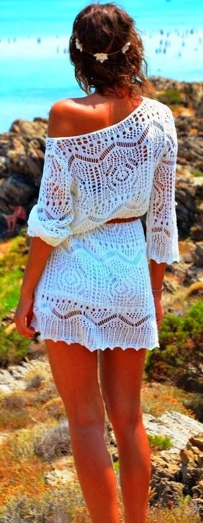 Off Shoulder White Crochet Dress. For bathing suit cover up.