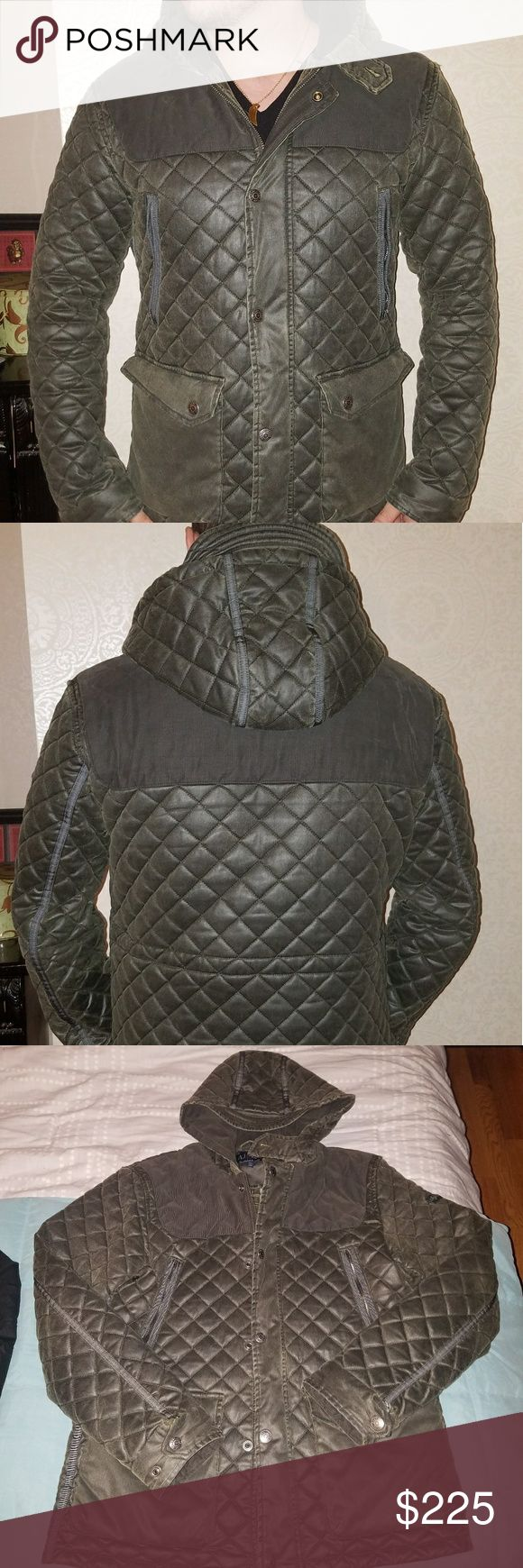 Aunthentic Armani Jeans Jacket Armani Jeans, size small, olive green, quilted,weather proof,  hooded jacket ?? Armani Jeans Jackets & Coats Puffers