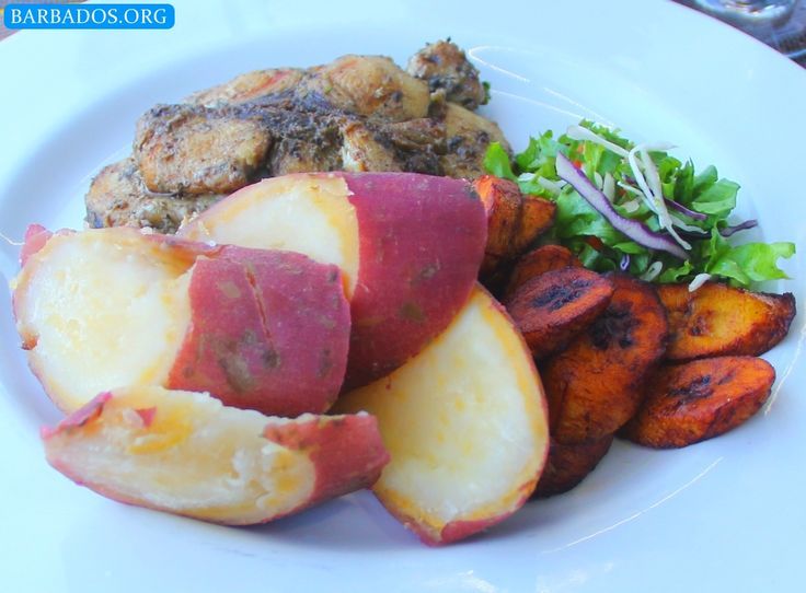 Yum yum, delicious grilled fish, sweet potato, plantain and salad at Marina Bar & Restaurant in Bridgetown, Barbados