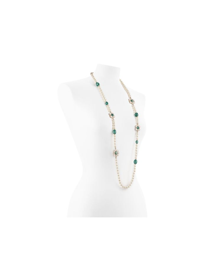 Long glass pearls necklace embellished... - CHANEL