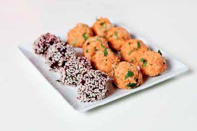 Falafel and Italian Veg Balls - delicious with mung bean hummus