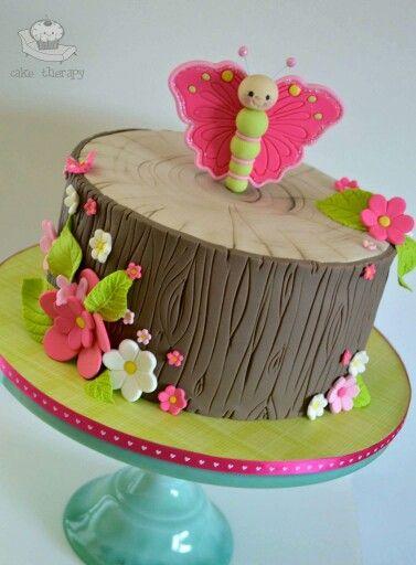 Cute butterfly, stump cake art.