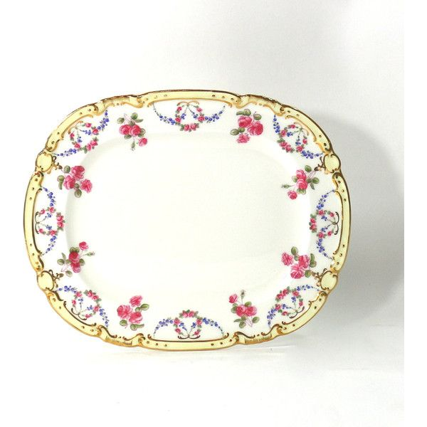 1880s Tiffany Co Serving Platter Roses by Minton, Antique Victorian... ($195) ❤ liked on Polyvore featuring home, kitchen & dining, serveware, porcelain tray, dinner trays, rose tray, porcelain serving platters and chip tray