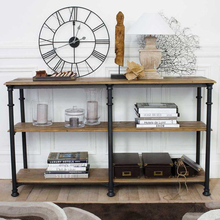 Consola de metal y madera maciza reciclada negra 160cm de largo Fontainebleau   Maisons du Monde