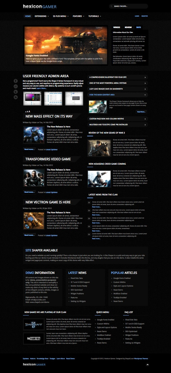Hexicon Gamer WordPress Video Gaming Theme [Mobile Ready!]