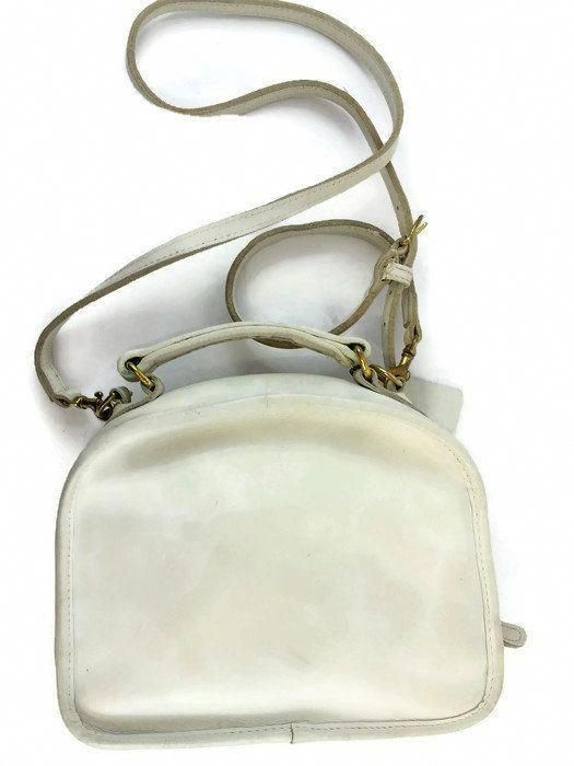 5cf6f0427 Vintage COACH #9991 White Leather LUNCH BOX Crossbody Handbag Convertible Shoulder  Bag Small Retro Purse