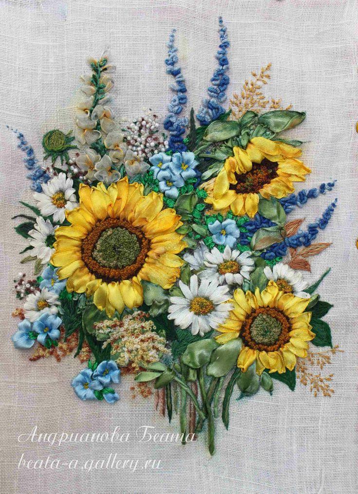 ribbon embroidery by Beata Andrianova, Russia, beata-a.gallery.ru/