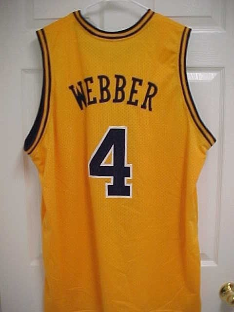 factory price 3cb33 20761 CHRIS WEBBER 4 Michigan Wolverines Maize Embroidered ...