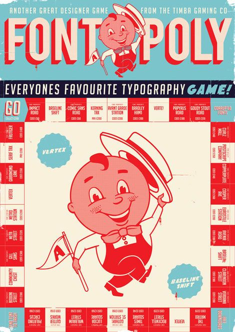 Timba Smits, 1950s inspired design for a monopoly game based on typefaces instead of street names. Awesome.