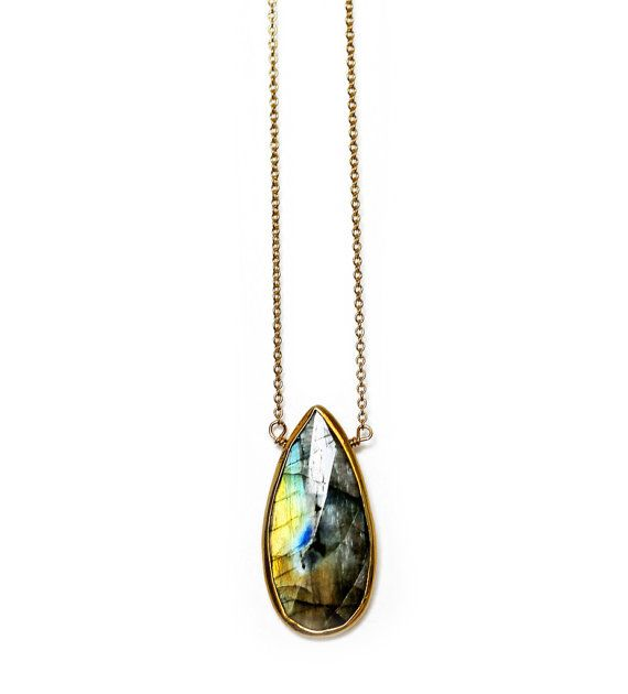 LABRADORITE drop necklace by keijewelry on Etsy