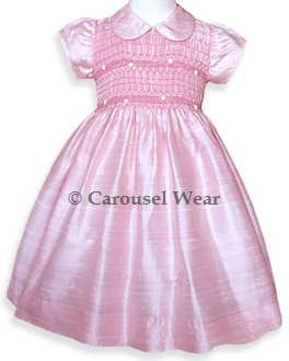Pink silk shantung girls dress.  Fully lined by CarouselWear, $112.00