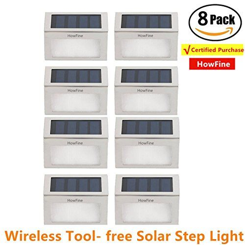 [Pack of 8] HowFine Outdoor Stainless Steel LED Solar Step Light Wireless Super Bright Modern White Lamp for Deck, Staircase, Walkway, Patio, Garden, Yard, Patio #[Pack #HowFine #Outdoor #Stainless #Steel #Solar #Step #Light #Wireless #Super #Bright #Modern #White #Lamp #Deck, #Staircase, #Walkway, #Patio, #Garden, #Yard, #Patio