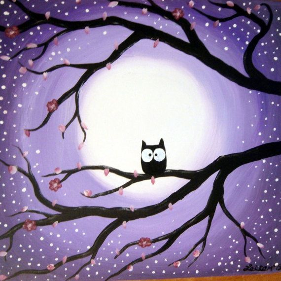 Whimsical Owl in a tree. Handmade, acrylic on stretched canvas. Stretched canvas painting (not a print, poster or transfer) This painting is 1 piece canvas painting, individual work of art! It will be made to order so please suggest any changes you would like No need to frame it,