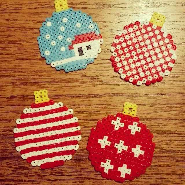 Christmas baubles hama beads by bykathrine