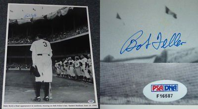 """Bob Feller Signed 16x20 Babe Ruth Yankees Photo PSA COA . $55.00. Hall of Fame Pitcher,Bob Feller,Hand Signed Black and White 16x20"""" Photograph of Babe Ruth.On the Bottom of the Photo is the Following Description:Babe Ruth's final appearance in uniform leaning on Bob Feller's bat. Yankee Stadium June 13, 1948.GREAT AUTHENTIC BOB FELLER AND BABE RUTH BASEBALL COLLECTIBLE!! .AUTOGRAPH AUTHENTICATED BY PSA DNA AUTHENTICATION, ITEM COMES WITH NUMBERED PSA DNAAUTHENTICATION..."""